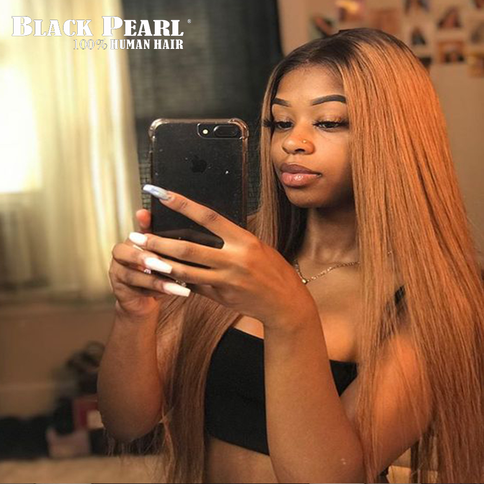 Black pearl Peruvian Ombre Bundles With Closure Straight Honey Blonde Bundles With Closure Non Remy Human