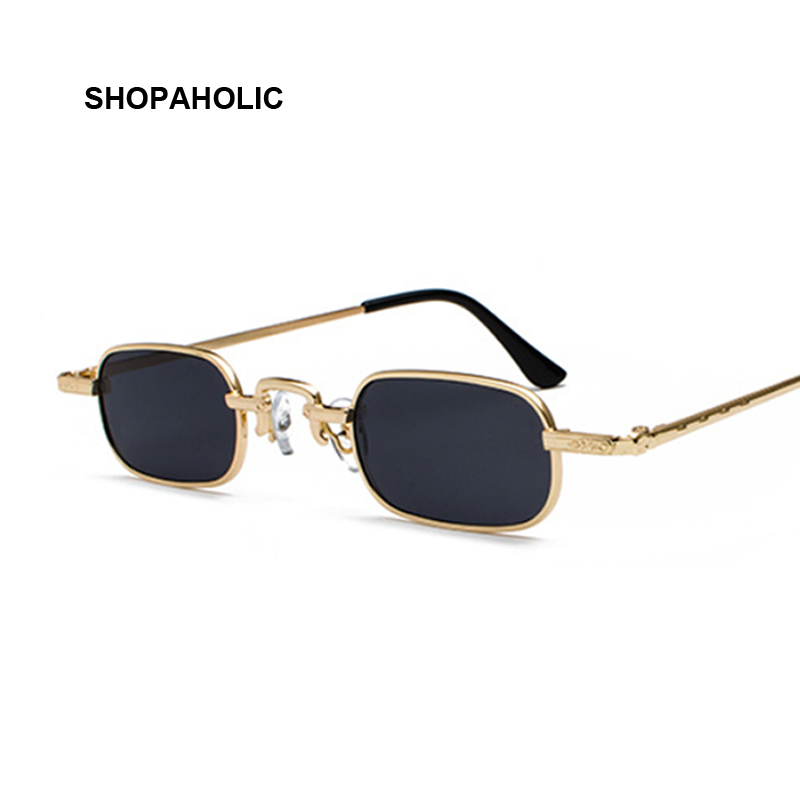 Retro Small Square Metal Steampunk Sunglasses Women Men Fashion Glasses Brand Designer Vintage Sunglasses Female High Quality
