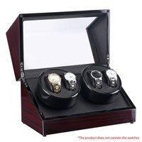 часы моталки 4 слота лак дерево поворот электрические бесшумный мотор часы коробка часы дисплей роскошные часы сша штекер корпус