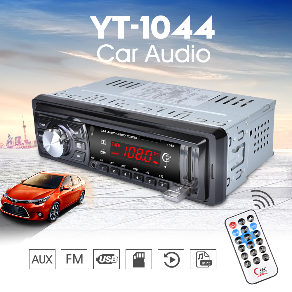 1044 car radio 1 din led display auto audio 12v in dash. Black Bedroom Furniture Sets. Home Design Ideas