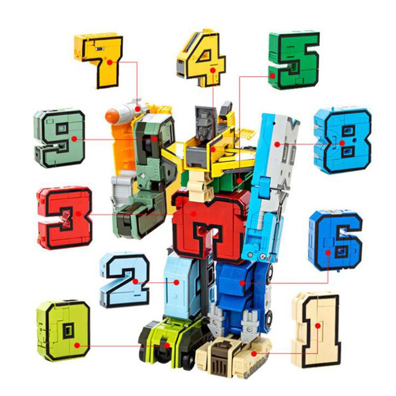 15Pcs Creative Blocks Assembling Educational Blocks Action Figure Transformation Number Robot Deformation Robot Toy For Children