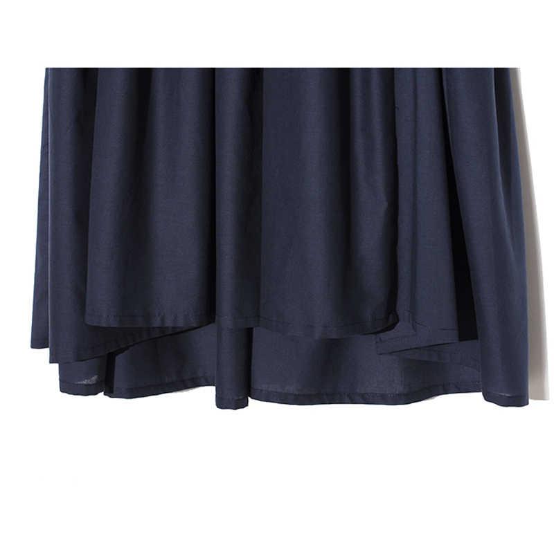 [EAM] 2019 новое осенне-зимнее платье с v-образным вырезом Длинные тёмные рукав синее свободное Плиссированное комбинированное платье большого размера Женская мода Tide JX426