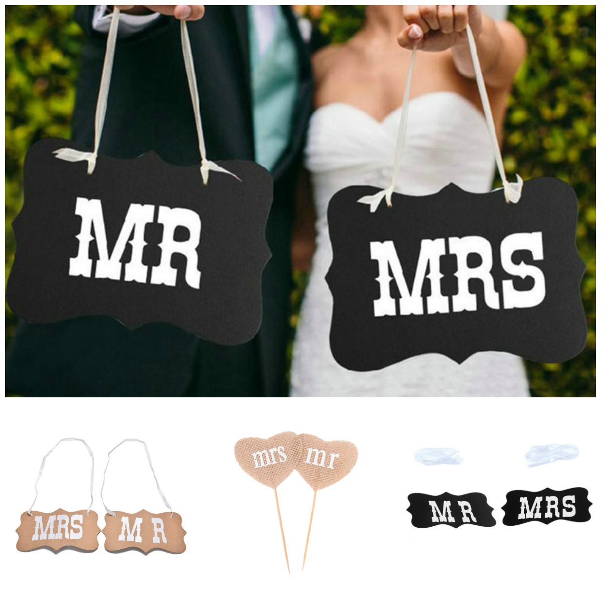 1set DIY Black Mr Mrs Paper Board+Ribbon Sign Photo Booth Props Wedding decoration Party Favor photocall for weddings