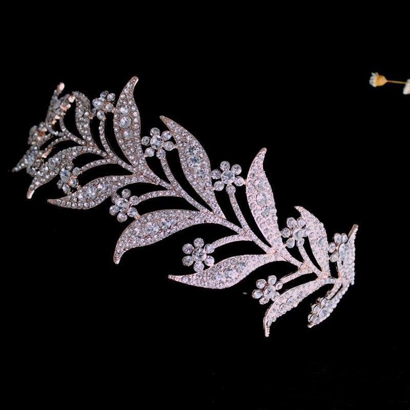 Luxury Crystal Rose Gold Crystal Leaves Bridal Tiaras Crown Bride Headpiece Rhinestone  Crowns Wedding Hair Jewelry 92c34ea94fff