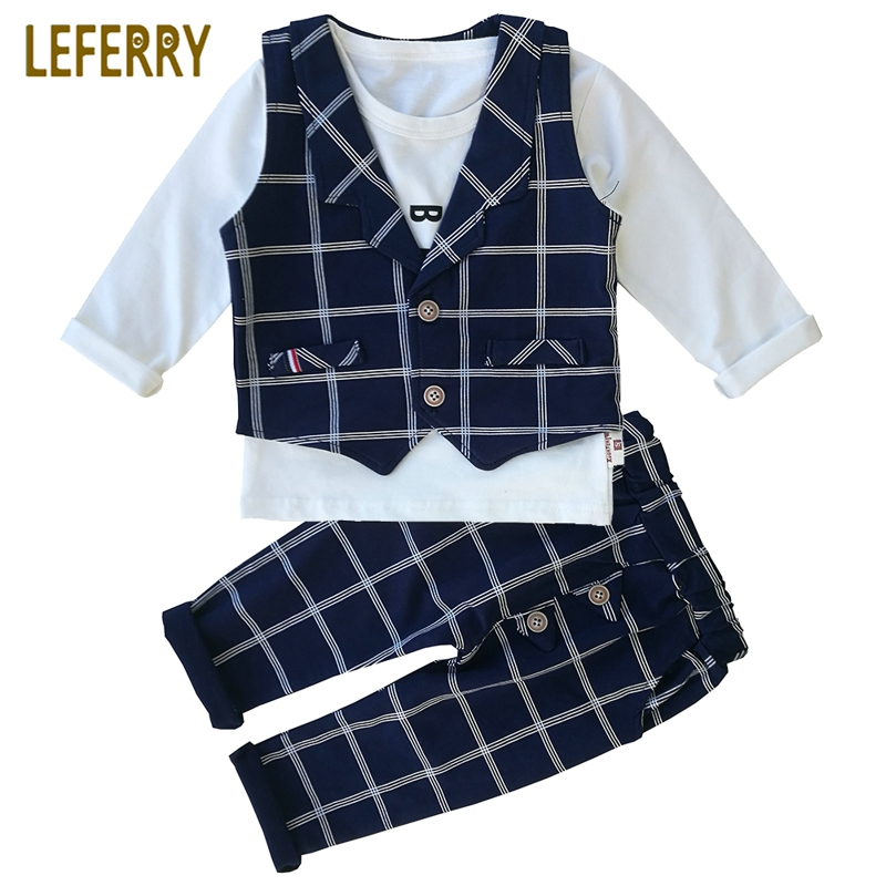 2018 New Spring Kids Clothes Baby Boy Clothing Sets 3PCS Gentleman Suit Toddler Boys Clothing Kids Boy Clothes Set Party Dress new arrival baby boy clothes sets plaid gentleman suit infant toddler boys vest pants children kids clothing set outfits 2 8 age
