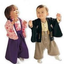 Novo Bebê Meninos Meninas Roupas de estilo Quimono Japonês Roupas Bebes Recém-nascidos conjuntos de Roupas de Bebê meninos meninas macacão + Casaco Terno