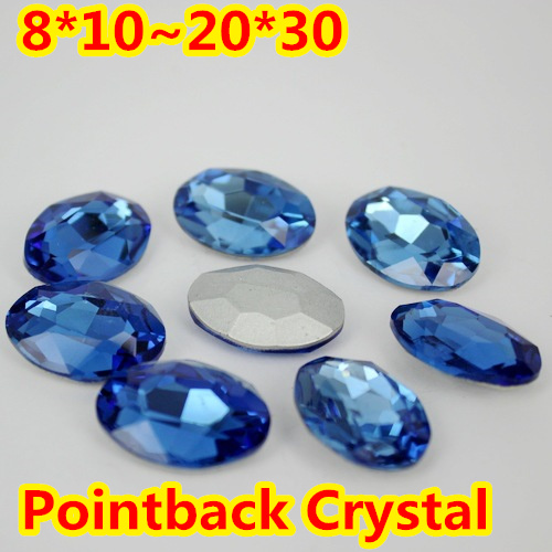Sapphire Oval Shape Crystal Fancy Stone Point Back Glass Stone For DIY Jewelry Accessory.10*14mm 13*18mm 18*25mm 20*30mm violet oval shape crystal fancy stone point back glass stone for diy jewelry accessory 10 14mm 13 18mm 18 25mm 20 30mm
