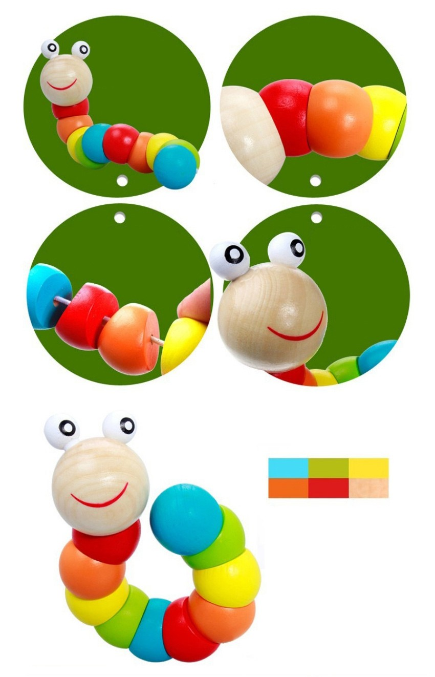 Colorful Insects Puzzles Kids Educational Wooden Toys Baby Children Fingers Flexible Training Science Twisting Worm Toys 4