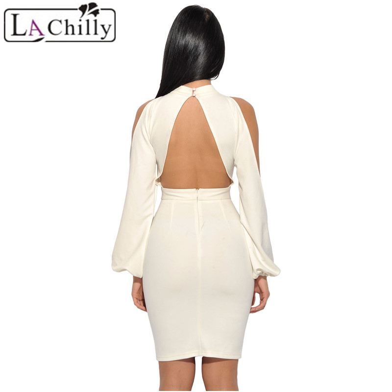 Aliexpress.com : Buy La Chilly Sexy Long Sleeve Dress 2018 Roupas Feminina White  Cut Out Sleeve Stretch Crepe Bandage Party Turtleneck Dress LC28466 from ...