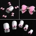 Hot 10 unids/lote 3D Encantos Del Arte Del Clavo Pink Bow Tie Decoración de Uñas DIY Joyas Belleza Accesorios de Diamantes de Imitación Para Uñas