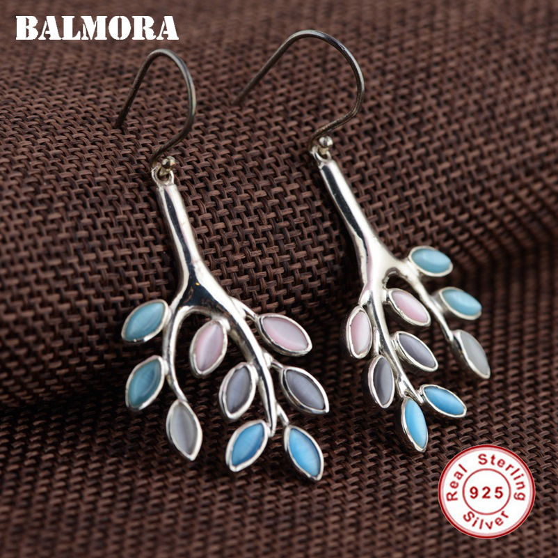 BALMORA 100% Real 925 Sterling Silver Leaf Drop Earrings for Women Mother Gift Retro Ethnic Earrings Jewelry Brincos MYS30009 leaf decorated drop earrings