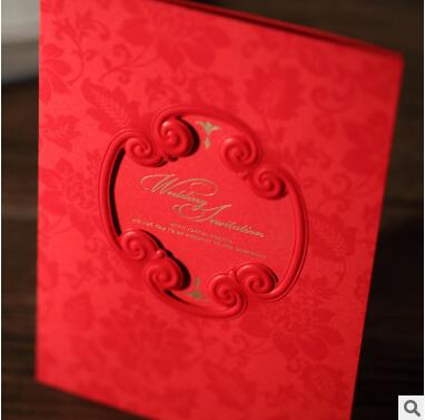 50pcs Lot Chinese Traditional Wedding Invitations Cards Red Inviting Card For Casamento Decoration Event Party