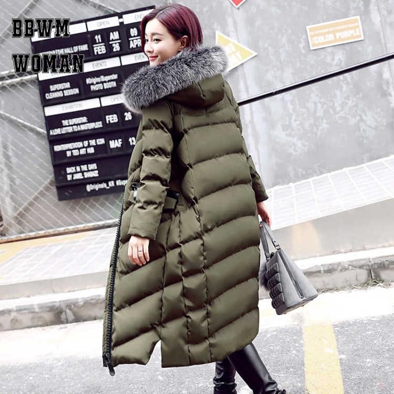 Thick Warm Slim Women Hooded Coat Fur Collar Army Green Black Outerwear Overcoats 2018 Korean   Parkas   ZO937