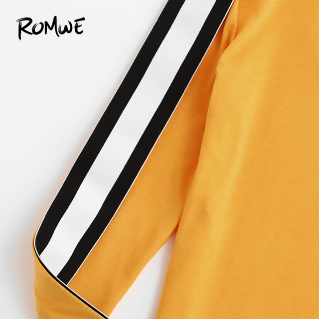ROMWE Striped Tape Sleeve Ginger Tee Ladies Round Neck Long Sleeve Tops  Spring Autumn Women Clothing Casual T Shirt