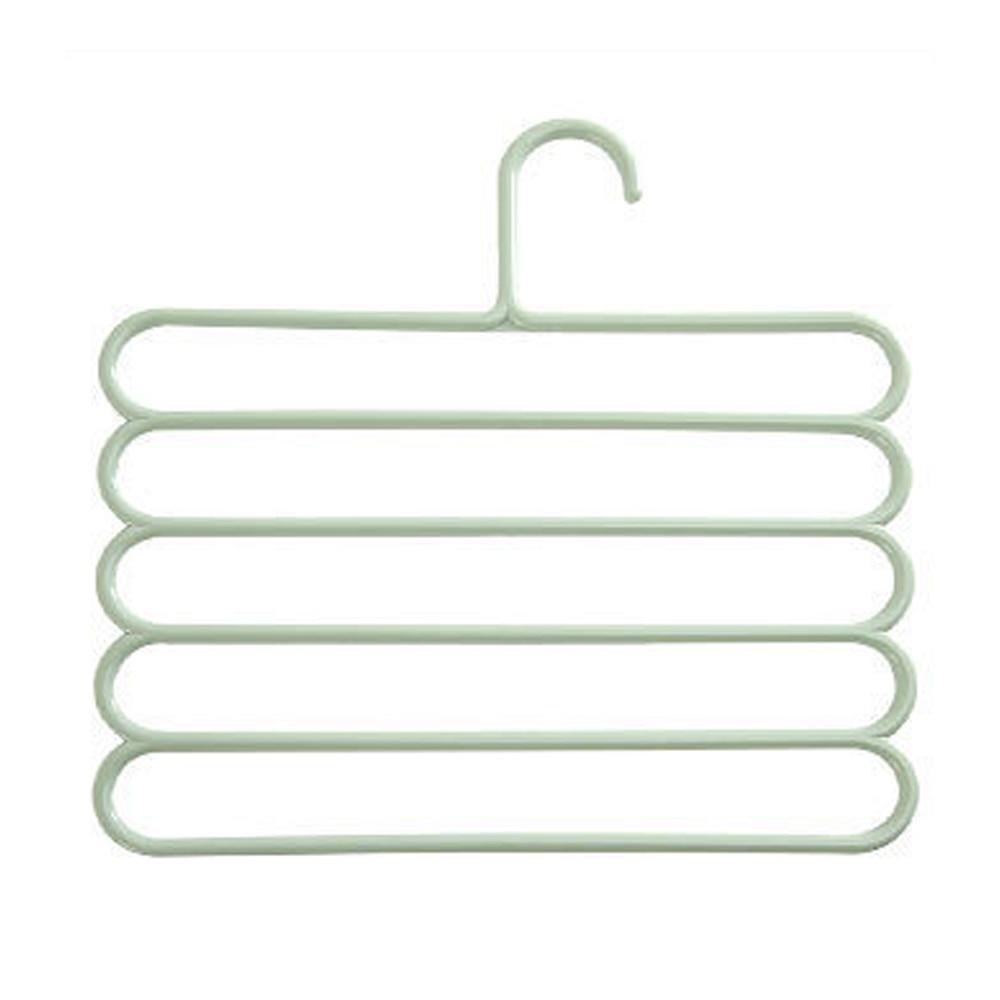 5 слоев не Нескользящая мультифункциональная подкладка под вешалки для одежды со штанами Для Хранения Вешалки ткань стойки Многослойные хранения шарф галстук вешалка 1 шт - Цвет: Light Green