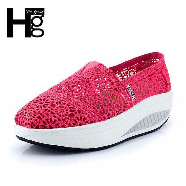 HEE GRAND Delicate Cut Out Lace Women Casual Shoes Wedge Fitness Shoes Losing Weight Height Increasing XYP035