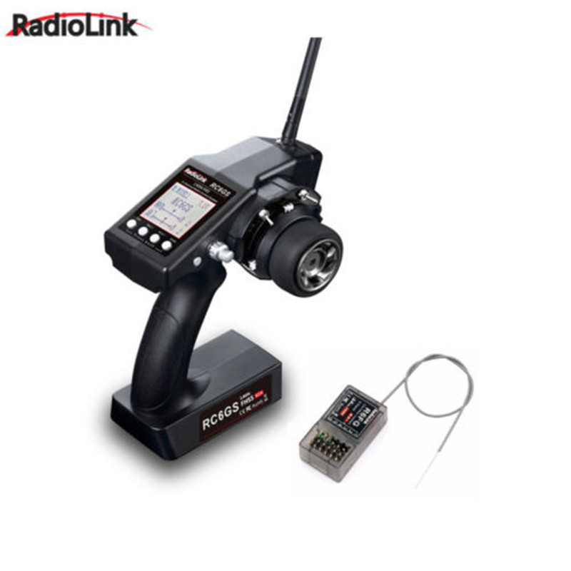 RadioLink RC6GS 2.4G 6CH Transmitter + R6FG Gyro Inside Receiver RX for Rc Racing Car Remote Control for RC Boat 400m Distance