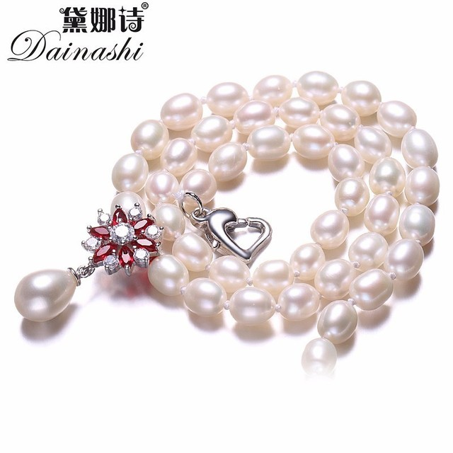 Beautiful Red Flower 925 Sterling Silver Pearl Necklace,White/Pink/Purple Natura