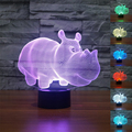 New Colourful Young Rhinoceros 3D Table Lamp Luminaria Led Night Lights Children's room Decorative lighting  great gift for kids