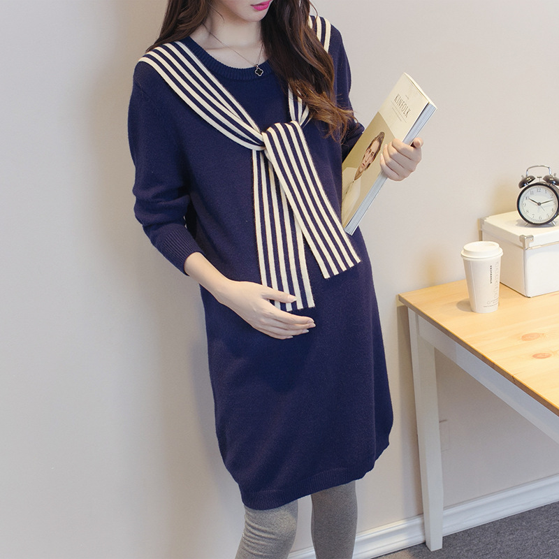 Warm Maternity Sweater Dresses 2Colors Long Sleeve Women Sweaters Pregnant Women Casual Knitted Maternity Sweater autumn winter new pregnant women sweater thickening slim package hip warm clothing knitted shirt maternity sweaters