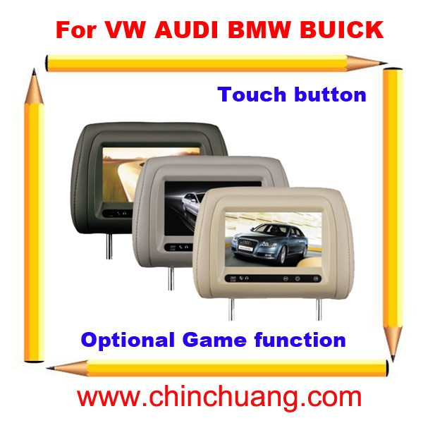 7 Special Car Pillow Headrest Monitor for VW AUDI BMW BUICK with Touch Button, optional GAME function-Free shipping fast free ship for gameduino for arduino game vga game development board fpga with serial port verilog code