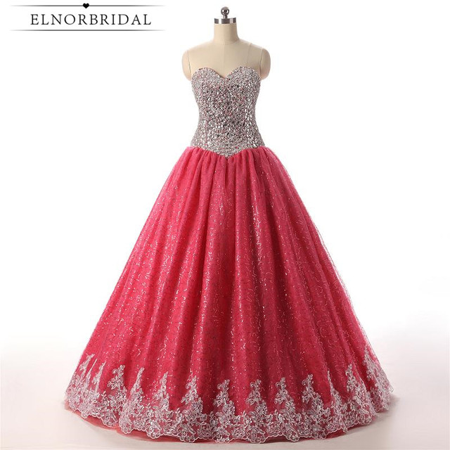 2018 Sweet 16 Dresses Red Sweetheart Ball Gown Quinceanera Dresses Floor  Length Vestido 15 Anos Formal Pageant Gowns 346d774978ab