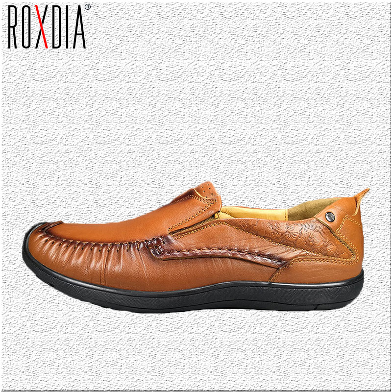 ROXDIA Spring Autumn Full Grain Leather Men Loafers Fashion Comfortable Men's Driving Casual Shoes Man Flats Size 39-44 RXM033 cbjsho brand men shoes 2017 new genuine leather moccasins comfortable men loafers luxury men s flats men casual shoes