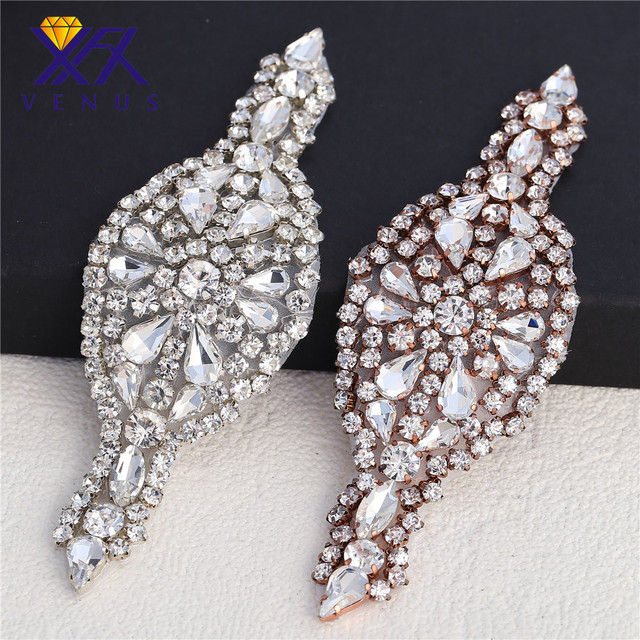 XINFANGXIU 1 piece Wedding sewing beaded crystal rhinestone applique  patches for dress women evening gown waist decor 38ce048b383e