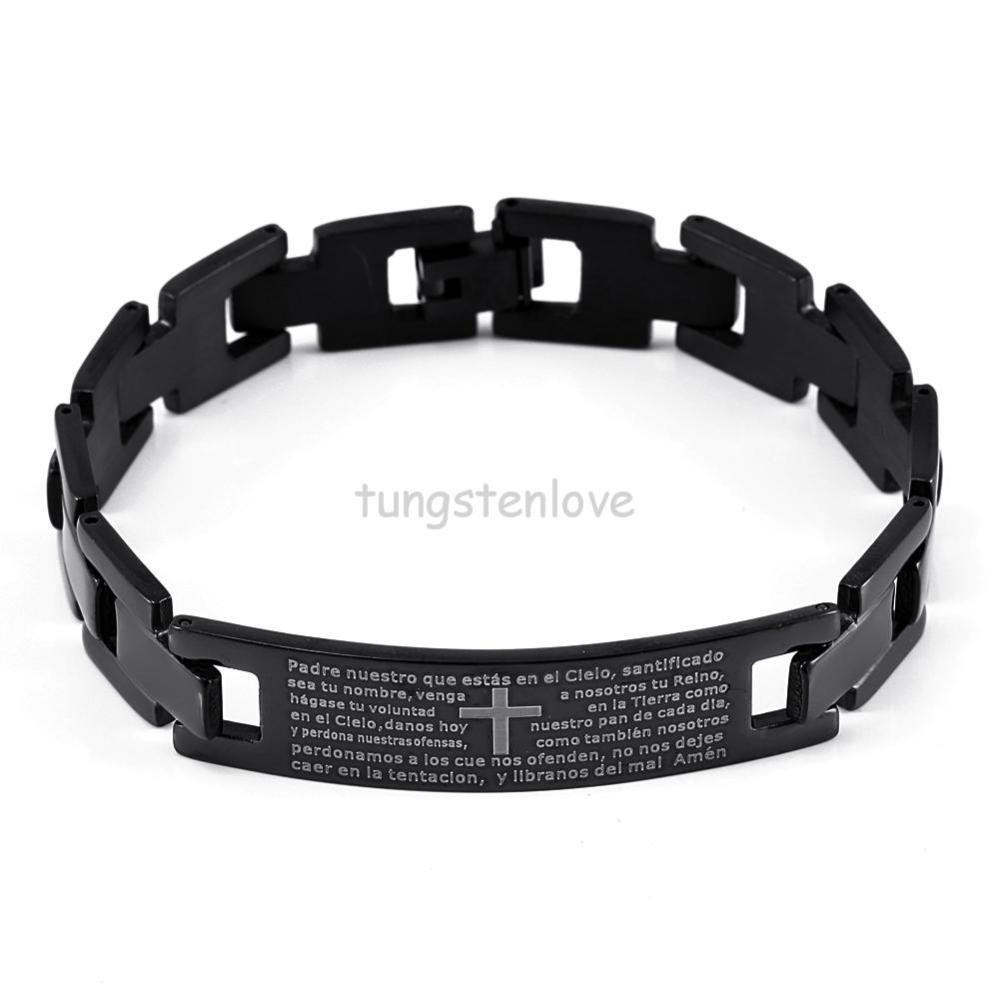 2015 Cross Bible Black Stainless Steel Bracelets Bangles Men Pulseira Women  Bracelet Pulseiras Pulseira Masculina 20cm