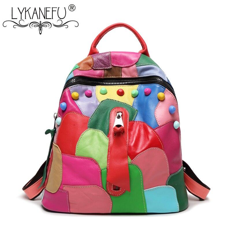 LYKANEFU prawdziwej skórzany plecak dla torba kobieca szkoła kolorowy plecaki dla nastolatek dziewczyny Patchwork skórzana torba Drop Shipping w Plecaki od Bagaże i torby na  Grupa 1