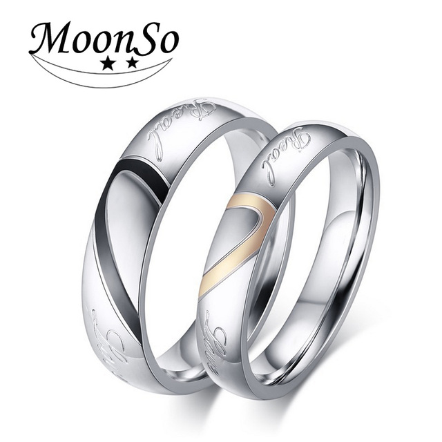 Moonso New Fashion engagement Couples heart shaped Ring Couple