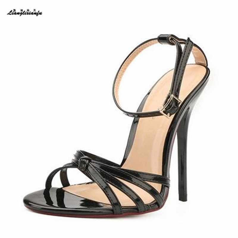 LLXF stilettos US15 16 17 18 19 summer Narrow Band 13cm Thin Heels women shoes Ankle Strap RED Pumps lady Buckle Party sandals frilly single band ankle strap heels mauve