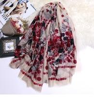 Winter Scarf Women 300s Pure Cashmere Scarves Rose Skull Head Lady Female Warm Square Shawls Wraps Brand Design 130*130cm