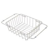 304 Stainless Steel Vegetable Fruit Washing Colander Kitchen Sink Wash Basket Extension Type 31*25*11cm Silver