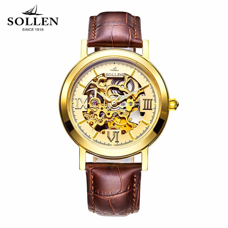 лучшая цена 2018 Solon genuine watch men's automatic mechanical watch hollow belt leather gold watch