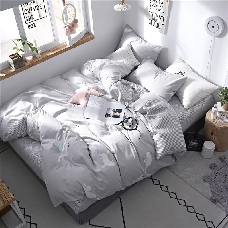 Cartoon White Cat Pattern Cotton Bedding Set Bedding Bed Linen Bed Sheet Duvet Cover Pillowcase 3/4Pcs Bedding Sets/Queen Size