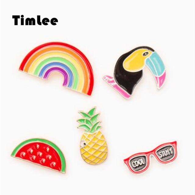 Timlee X021 livraison gratuite mignon fruits lunettes de soleil arc-en-ciel pic ananas pastèque broche broches, bijoux de mode en gros