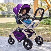Роскошные кожаные Parabebe сайт Kidstravel Детские Коляски 2 в 1 коляска Детские коляски для новорожденных