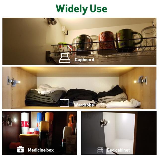 Goodland LED Under Cabinet Light Sensor Wardrobe Light Universal Led Armario With Battery For Kitchen Cupboard Closet Night Lamp