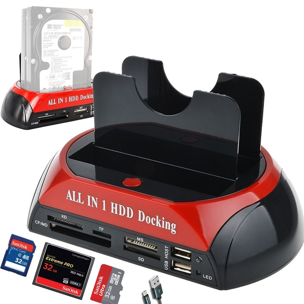 All in One HDD Docking Station with Multi Card Reader Slot for HDD Enclosure 2.5/3.5 inch SATA/IDE Hard Drive Docking StationAll in One HDD Docking Station with Multi Card Reader Slot for HDD Enclosure 2.5/3.5 inch SATA/IDE Hard Drive Docking Station
