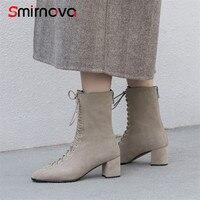 Smirnova/Дамская обувь Горячая Распродажа 2018 модные на шнуровке Обувь на высоком каблуке женские ботинки с квадратным носком ботильоны корова