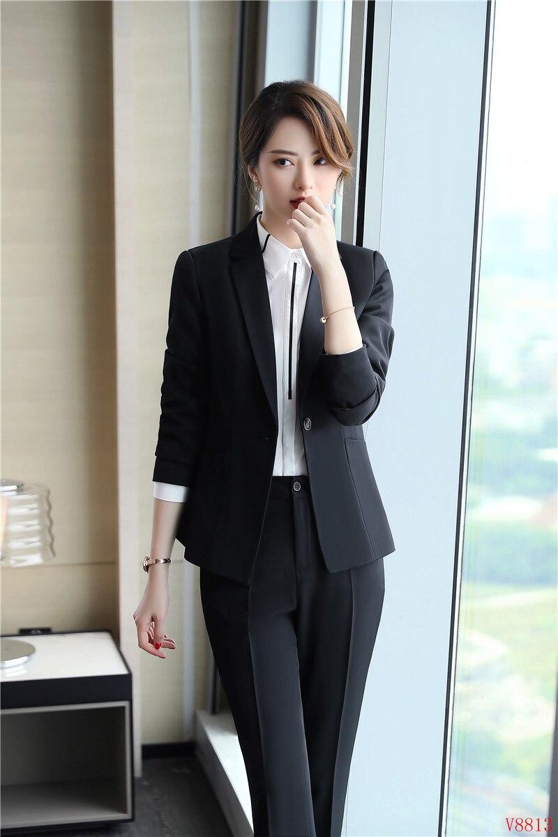 1bd43e5ca3a3a Veste 2019 2 Noir Élégante Costume Formelle D'affaires Ensembles Costumes  Noir ardoisé Femmes Blazers Blazer Dames Bureau De Pièce Pantalon ZiOuPkXT