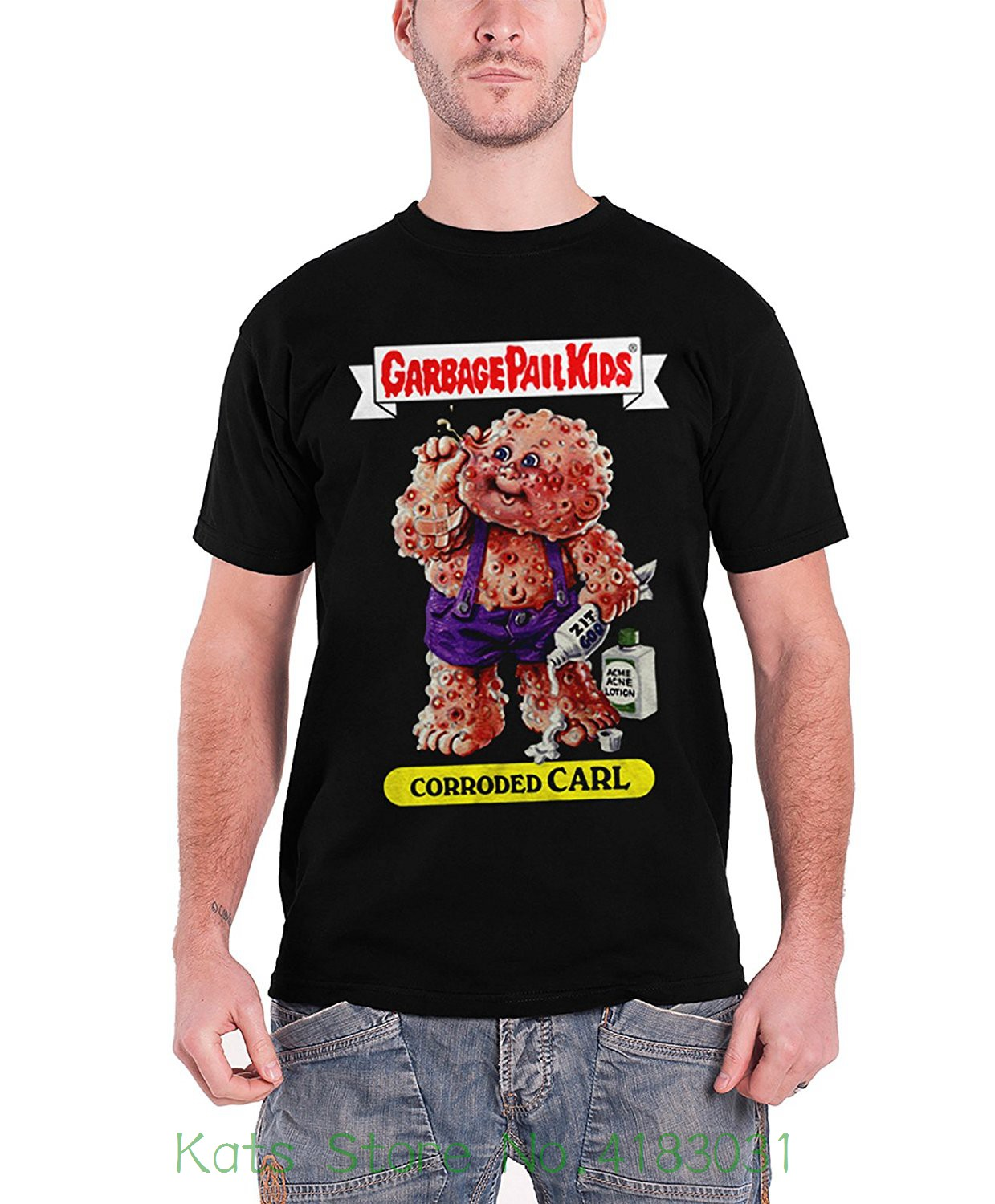 Garbage Pail Kids Officially Licensed Merchandise Corroded Carl T-shirt ( Black ) Cotton Loose Short Sleeve Mens Shirts