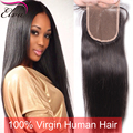 7A Brazilian Straight Lace Closure Free Middle 3 Part Lace Closure Bleached Knots,Virgin Human Hair Lace Closure For Black Woman