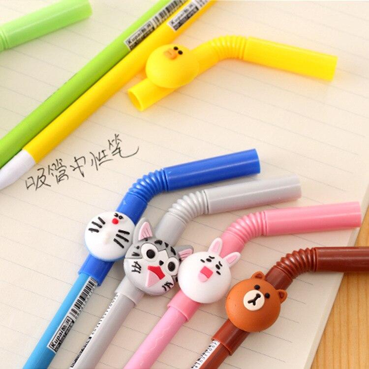 6-pz-lotto-paglia-Fumetto-penna-inchiostro-gel-Sveglio-Linea-amici-orso-Bruno-Doraemon-Stationery-Office (4)