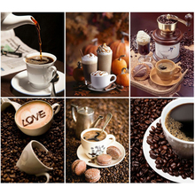EverShine Diamond Mosaic Full Display Coffee Picture Of Rhinestones Embroidery Set Painting Home Decor