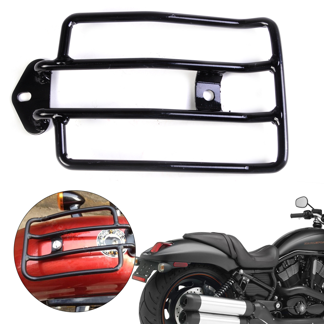 DWCX Motorcycle Black Rear Seat Luggage Carrier Cargo Support Shelf Rack Fit for Harley Davidson Sportster 1200 Sportster 883 motorbike black solo seat luggage shelf frame rack for harley sportster xl 883 1200 85 03