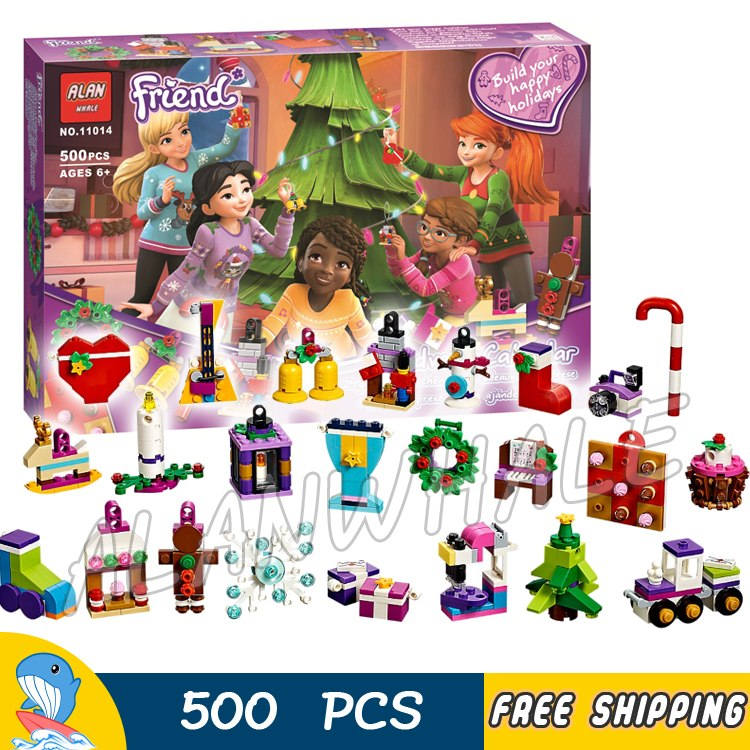 500pcs DIY Friends Advent Calendar 11014 Model Building Blocks Toys Bricks Compatible with Lego super large 256pc building blocks set compatible with lego friends series pop star limo model brinquedos bricks toys for girls