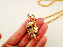 NEW Golden Gold Gunmetal MICRO JESUS PIECE Pendant Charm Hip Hop Necklace Christian Sweater Chain