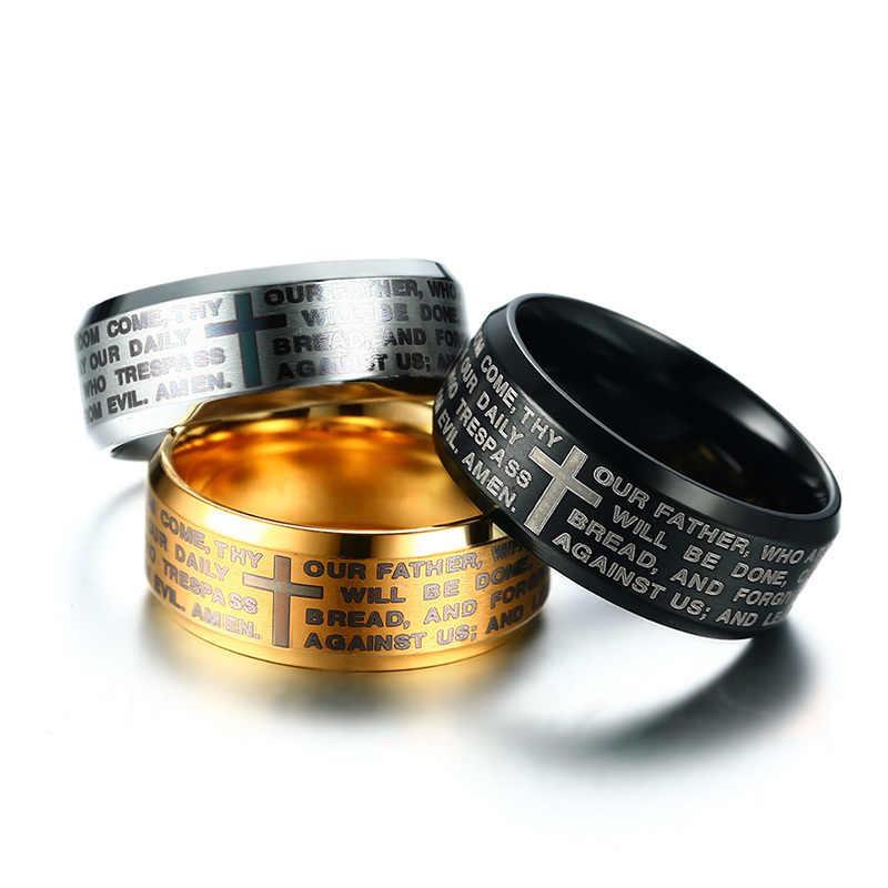 V noxสลักพระคัมภีร์ข้ามแหวนสำหรับผู้ชาย3สีตัวเลือกสแตนเลสที่ทันสมัยสวดมนต์ชายเครื่องประดับสหรัฐขนาด#7-#13
